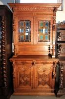 Gyönyörű antik, dúsan faragott,ólomüveges reneszánsz tálaló szekrény!