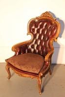 Gyönyörű chesterfield antik barokk bőr fotel!