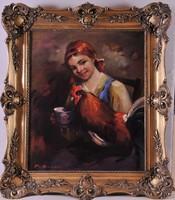 Bendéné Kovacsev Friderika (1891-1975): Leány kakassal