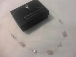 Ezüst nyaklánc (nyakék)  rózsaquarzzal