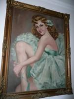 Gyönyörű, hibátlan blondel keretes antik szignós olaj-vászon balerina festmény az 1920-as évekből