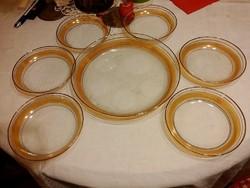 6 személyes vastagon aranyozott üveg süteményes készlet