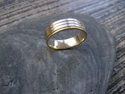 NŐI ARANYGYŰRŰ, arany gyűrű, karikagyűrű ,57-58-as méret, 14 karátos, 3,7 gramm, bicolor