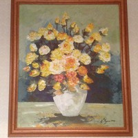 Csendélet,sárga rózsákkal Megyesi Lukrécia