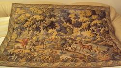 Régi főúri, lovas vadászjelenetet ábrázoló,szövött,francia gobelin falikárpit(igazolással)