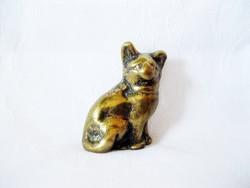 Antik tömör réz macska vitrindísz
