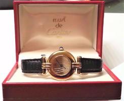 Cartier Must Vermeil Colissee. 925-ös ezüst női karóra.Igazolással