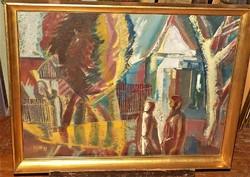 Cs. Nagy András(1927-2009) Találkozás c. Képcsarnokos festménye.86x66cm Eredeti Garanciával !!!