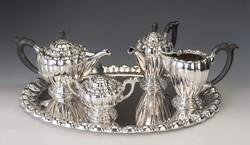Ezüst teás-/ kávéskészlet tálcával