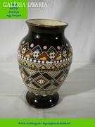 R368 Antik ungvári jelzett kerámia váza Kárpátalja