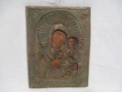 3373 D1 Antik házioltár ikonkép Mária a kis Jézus