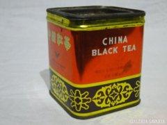 0500 Antik kínai fekete teás fémdoboz pléh doboz