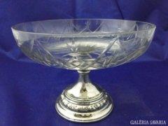 6078 Antik fém talpas asztalközép csiszolt üvegtál