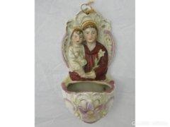 7316 Antik porcelán fali szenteltvíztartó