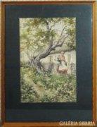8370 Bereczk K. jelzéssel akvarell tanyaudvar