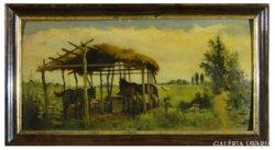 6734 Antik festmény lovak a karámban