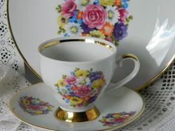Gyönyörű porcelán reggeliző szett, kávés csésze, kistányér 1940-ből