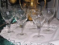 6 db. antik csiszolt boros pohár