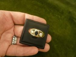 Zafíros - brilles unisex arany gyűrű