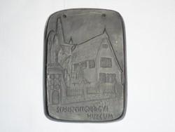 Sepsiszentgyörgyi Múzeum - feketekerámia kerámia agyag plakett - Erdély Románia emlék