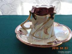 Szecessziós-tojáshéj-lila írisz-aranytollazott mokkás szett