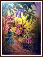 Meseszép, jelzett csendélet - A virágkosár ( olaj, 62 x 46 )