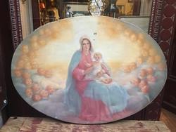 """R. Barabás Gizella """"Madonna a kisdeddel"""" 70x100 cm ovál olaj, sérült vászon festmény"""