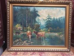 """Krupka 1920. 60x80 cm korának megfelelő állapotú, olaj, vászon festmény """"Tehenek"""""""