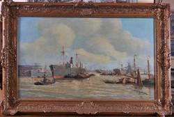 """Ismeretlen művész, """"Hans Verren""""? jelz. : Holland kikötői látkép"""