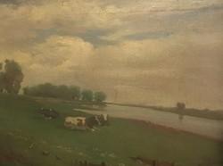 Tscheligi Csűrös Lajos (1913-2003): A mezőn, olaj, vászon, jelzett, fa keretben, 49,5×51,5 cm
