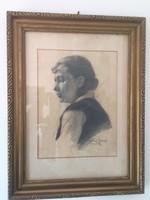 Baráth József női portré ceruzarajz