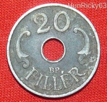 20 Fillér (lyukas) - Magyar Királyság - 1941.