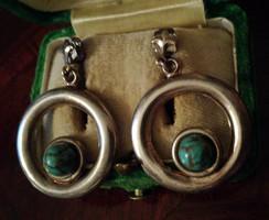 Régi ezüst karika fülbevaló türkizekkel Ag 925