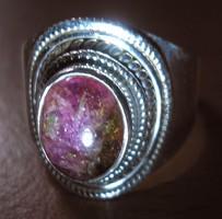 925 ezüst gyűrű, 18,5/58 mm, dinnye turmalinnal