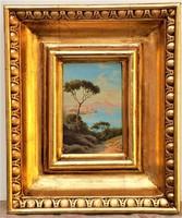 Antik Itáliai festő Nápolyi öböl háttérben a Vezúvval 1898-ből. Eredeti GARANCIA !!!