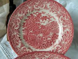 Angol porcelán süteményes tányér pink, 4 db