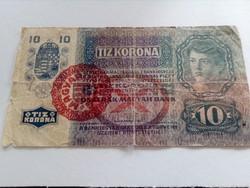 1915-ös 10 Korona Magyarország bélyegzett