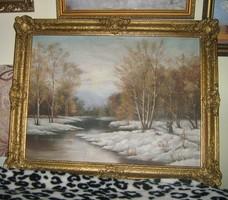 Téli tájkép rőzsét hordó asszonnyal gyönyörű blondelkeretes antik olaj vászon festmény