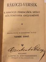 Rákóczi-Versek, 2. Rákóczi Ferenczről szóló költemények gyüjteménye!1906.