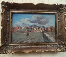 Pompei  régi olasz festmény olaj vászon jelzett