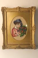 Gobelin kép blondel keretben: Kislány virágcsokorral