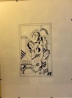 """"""" Bárban """" 1969 ,  ismeretlen jelzéssel,30x40 cm-es tus, papír"""