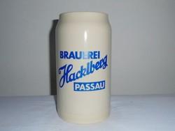 Német kerámia sörös korsó 1 liter - Brauerei Hacklberg Passau