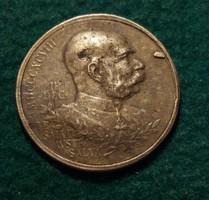Ferenc József 1848 12.11.- 1898 12.11. Jubileumi emlékérme.Réz, 5,9 g. 26 mm.