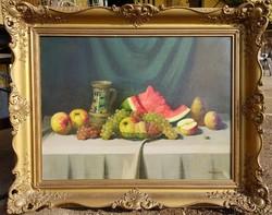 Nándory Sándor / Asztali csendélet gyümölcsökkel