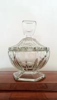 Régi üveg talpas cukortartó art deco jellegű 14 cm