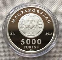 Ezüst Érme Fáy András 5000 Ft 2014 PP certivel 0,925