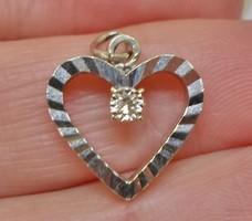 Szépséges /brilles 14kt fehér arany szív medál akció!!