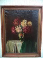 Antik pünkösdi rózsás gyönyörű csendélet Schiff Kálmán 1875 Nagyugrócz