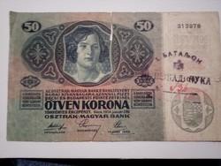 1914-es 50 Korona Sorszámos Szerb bélyegzett RR!